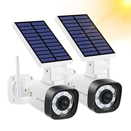 Fake Security Camera - Techage Solar Powered Dummy Cameras with Red LED Light and Motion Detection, IP66 Waterproof Simulated Surveillance Cam for Outdoor Security, Packs of 2(White)