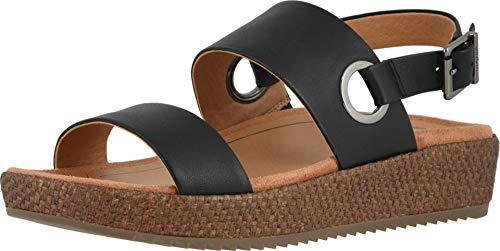 Vionic Women's Louise Platform Sandal - Ladies Flatform Sandals Concealed Orthotic Support Raffia Black Leather 8 Medium US