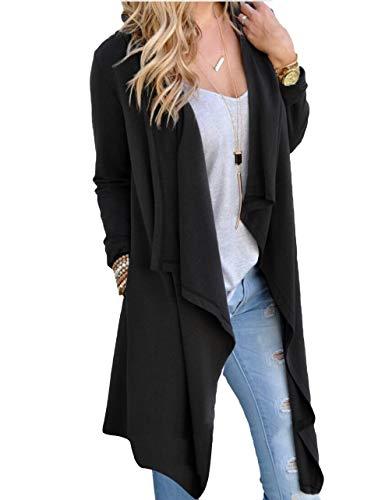 SwissWell Damen Strickjacke Cardigan Pullover Blazer Oberteil Open Front Jacke Mantel Langarm Loose mit Taschen Schwarz L
