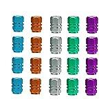 MUCHEN SHOP Tapa de Válvula de Neumático,20 Piezas Tamaño Universal Tapones Ruedas Coche de Aluminio para Neumáticos de Bicicleta de Moto de Coche(Verde,Azul Cielo,Gris Claro,Naranja,Púrpura)