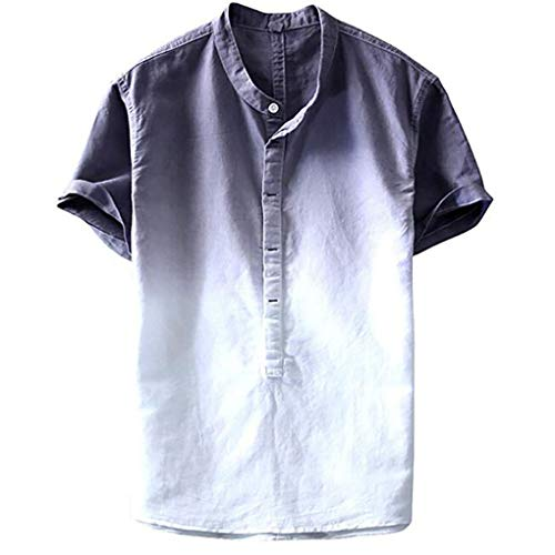 Leinen T- Shirt für Herren/Skxinn Männer Freizeithemd Sommer Kurzarm Gefärbt Farbverlauf Hemd Casual Regular Fit Cool & Dünn Atmungsaktiv Oberteile M-3XL Ausverkauf(Grau,Large)