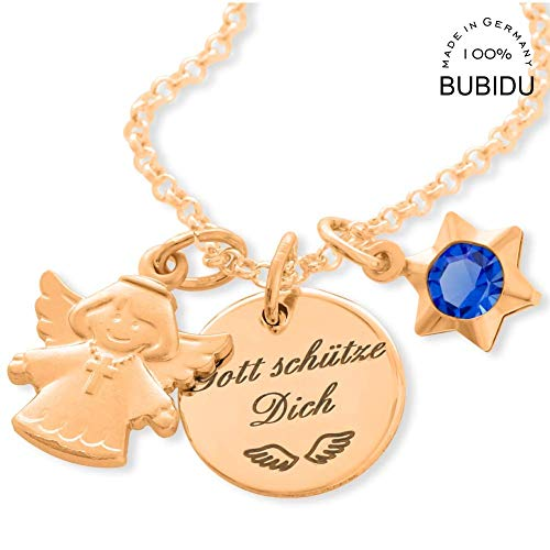 Taufe Mädchen Kette Gold rosé Kinderkette ❤️ Taufkette Baby Goldkette Engel ❤️ Namenskette Schutzengel Stern Kommunion Geburtstag | HANDMADE IN GERMANY