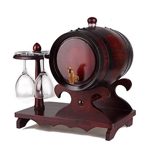 OhLt-j 3L barrica de Roble, Madera Dispensador Barril del Whisky Sin Liner for cañones de elaboración de la Cerveza Vino y Almacenamiento de Whisky, Brandy, Agave (Color: Rojo Retro, Tamaño: 3L)