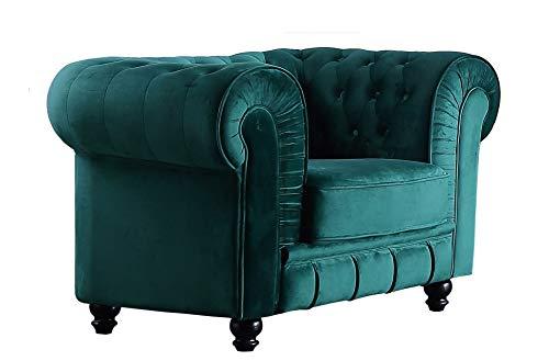 SuenosZzz - Sofa clásico Modelo Chester Color Verde Velvet. Sofa Vintage (1 Plaza), tapizado en Tela, Botones en Respaldo y reposabrazos | Sofas Vintage | Sofas Salon