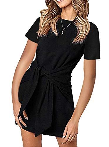 PRETTYGARDEN Women's Casual Short Dresses Solid Color Short Sleeve Crewneck Tie Waist T Shirt Dress Mini Tunic Dress Black