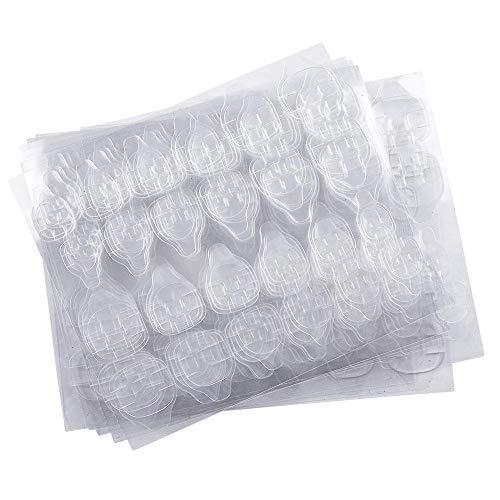 Kalolary 10 Fogli Adesivo Colla per Unghie a Doppio Lato, Colla Gelatina Nastro Adesivo Linguette Colla per Unghie Flessibile Trasparente Unghie Finte Consigli per Manicure (240 Pezzi)