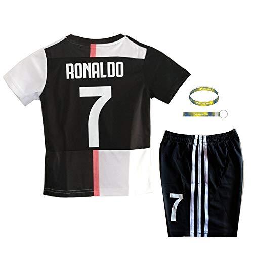 Daoseng 2019-2020 Tuta da Allenamento per Ragazzo Uniforme da Calcio T-Shirt a Maniche Corte + Pantaloncini (2019-2020 No.7, T20/Altezza Bambini 115-125CM)