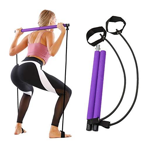 Barra de Pilates con Banda de Resistencia Ajustable, Barras elásticas multifuncionales para el hogar, Cuerdas de tensión, Equipos de Fitness Que Son adecuados para Yoga, Modelado