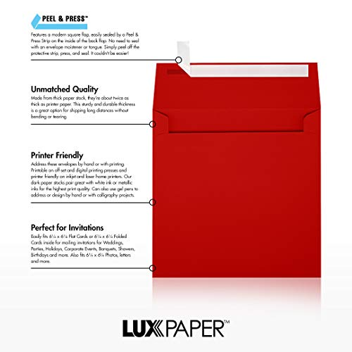 6 1/2 x 6 1/2 Square Envelopes - Holiday Red (50 Qty)   Perfect for Invitations, Announcements, Greeting Cards, Photos   8535-15-50 Photo #7