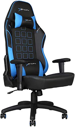 E-WIN Gaming 400 lb Big and Tall Office Chair,Ergonomic Racing Style Design with Wide Seat High Back Adjustable Armrest Black Blue blue chair gaming