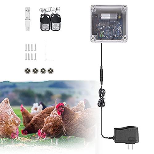 SIDTIY Kit Apriporta Per Pollaio Automatico, Sicuro al 100%, Porta Automatica Per Pollaio, Timer + sensore di luce, 220V Alimentazione a Rete o a Batteria o energia Solare, 4 Pulegge, 11.8x12.6 inch
