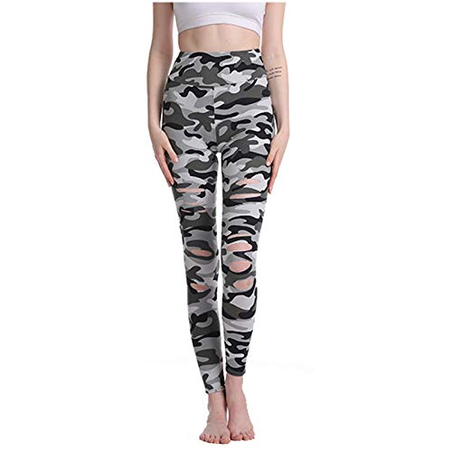 Pistazie - Leggings de deporte anticelulitis para mujer, pantalones de fitness de compresión de cintura alta Slim Push Up Butt Lifter Pants Yoga Gym Jogging Moda Mujer Impresión Agujero ajustado