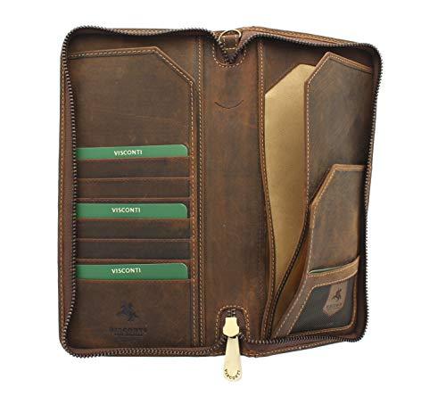 Visconti Hunter-Kollektion WING Leder Reiseorganizer Reisebrieftasche, mit Handgelenkband mit RFID-Schutz 728 Öl so