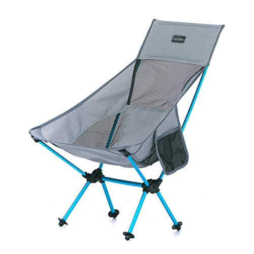 Jixi Sillas de camping plegable portátil para pesca, silla de camping, barbacoa, taburete plegable de jardín ultraligero de aleación de aluminio al aire libre silla de pesca (color: gris)