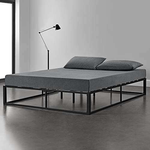 [en.casa] Metallbett 200x200cm Schwarz auf Stahlrahmen mit Lattenrost Bettgestell Design Doppelbett Ehebett Schlafzimmer