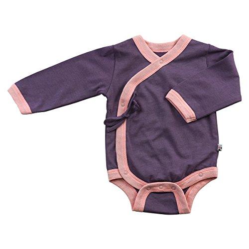 Babysoy Baby Girls' Kimono Bodysuit - Eggplant - 0-3 Months