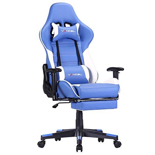 Silla Gaming Tela Ergonomica Sillones de Oficina Racing Gamer Silla con Reposapiés Retráctil con Lumbar y Reposacabezas (Azul-1)
