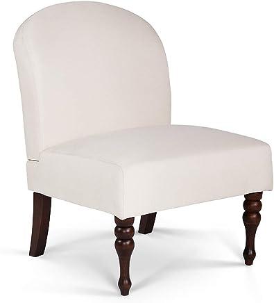 无扶手现代风格椅,实木桌腿,适用于客厅、卧室、办公室、白色,S'DENTE 出品