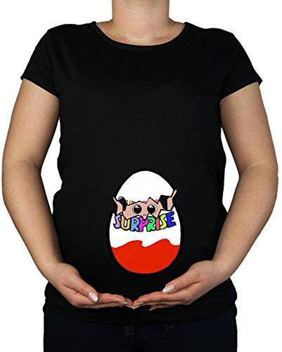 Tunique de grossesse en coton imprimé - Imprimé bébé - Taille 38 - 48 - Noir - Medium