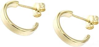forme di Lucchetta per Donna - Orecchini Oro Giallo 9k Mezzo Cerchio Spessi con diametro 13mm - Made in Italy Certificato,...