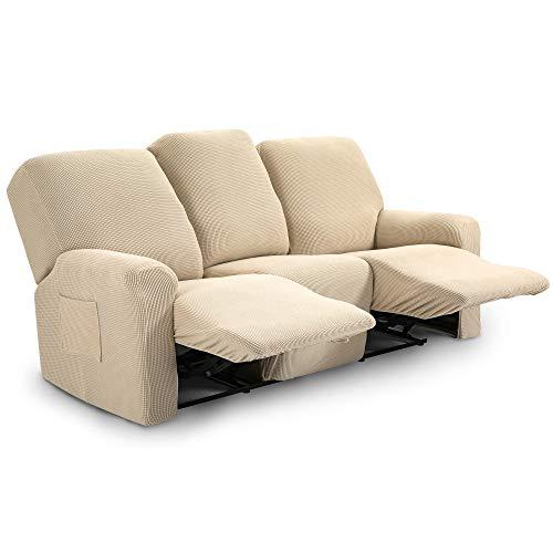TIANSHU Funda reclinable para sofá de Dos plazas, 8 Piezas para 3 Asientos, Funda reclinable de Jacquard para sofá de 3 Cojines, Funda elástica para sofá(Sillón Relax 3 Plaza, Marfil)