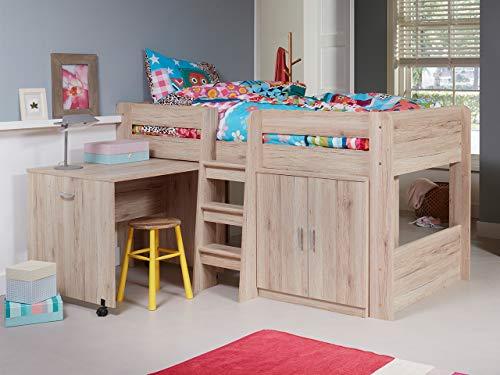 KRYSPOL Etagenbett für Kinder Funky Stockbett mit Treppe, Kleiderschrank und Schreibtische auf Rädern (San remo)