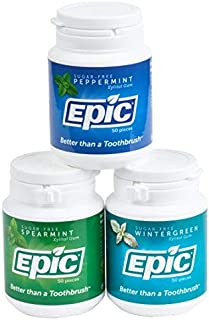 Epic 100% Xylitol-Sweetened Chewing Gum, Mint Flavors Bundle, 50-Count Bottles (Pack of 3)