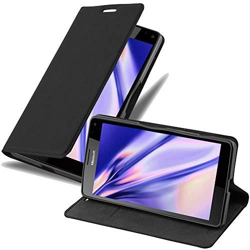 Cadorabo Hülle für Nokia Lumia 950 XL in Nacht SCHWARZ - Handyhülle mit Magnetverschluss, Standfunktion & Kartenfach - Hülle Cover Schutzhülle Etui Tasche Book Klapp Style