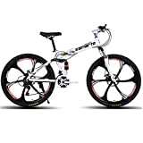 """New Easy Folding Bicycle, Mountain Bike 24/26 Inches, Suitable for Adults (White, 26"""")"""