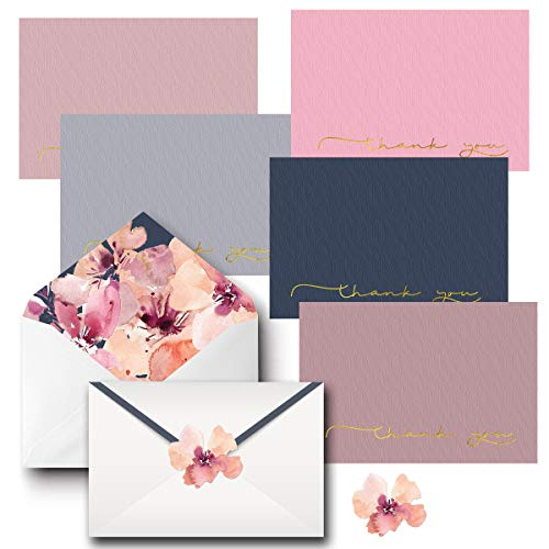 Bulk Thank You Cards with Envelopes & Matching Seal Stickers, Boxed Set of 20 Blank Note Cards (5 Colors, 4 of Each) for Appreciation, Wedding and Bridal & Baby Shower