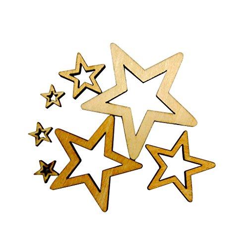 Chwanji Lot de 50 étoiles Creuses en Bois pour Loisirs créatifs