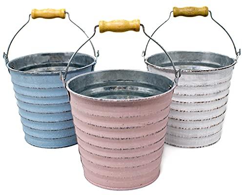 Selldorado® 3 macetas para colgar – Maceta colgante balcón con asa – Maceta de metal para balcón – Maceta para hierbas en aspecto vintage Shabby Chic 12 x 12 cm (3 unidades)
