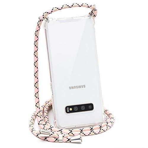 ZhuoFan Funda con Cuerda para Samsung Galaxy S7 Edge, Cárcasa Silicona Airbag Transparente con Colgante Ajustable Collar de Cuello Cadena Cordón Case Fundas Colgar Movil para Samsung S7 Edge, 16