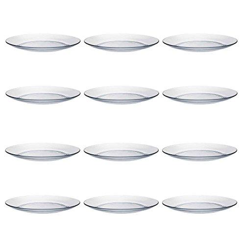 Duralex LYS - Juego de Platos Llanos para Postre - Cristal Templado Resistente al Calor - 19cm - Pack de 12