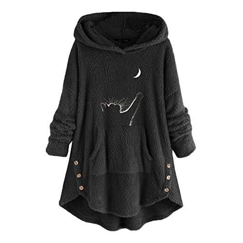 OutTop Fuzzy Sweatshirt Hoodies for Women Cat Print Side Button Fall Winter Long Sleeve Warm Fleece Tunic Tops w/Pocket (Black, M) Nebraska