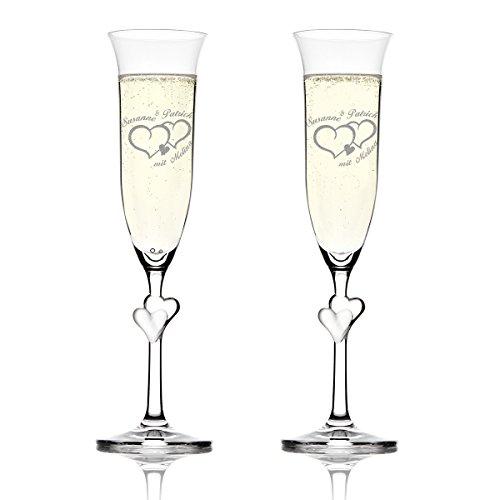 Stoelzle Lausitz Lot L Amour verres de champagne avec gravure Motiv – Deux cœurs avec petit coeur