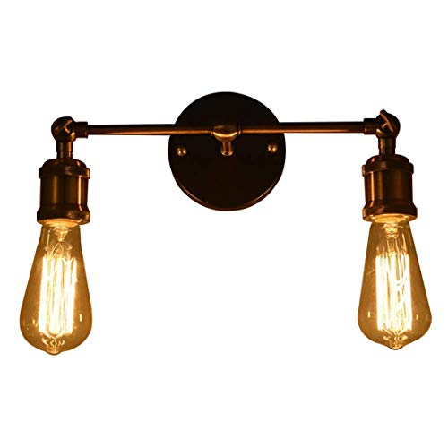 Vintage Industrial luz antigua pared lámpara cabeza cobre montaje accesorios pared Retro lámpara de pared con la lámpara de Edison E27 Socket (Double light)