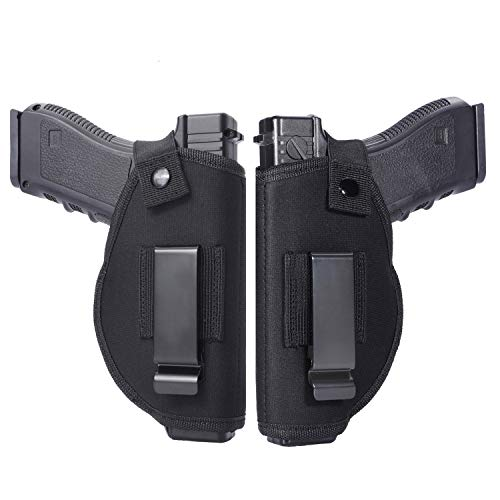 Anjilu 2 PC Universal Concealed Carry Holster, Inside or Outside The Waistband for Right and Left Hand Draw, Holster for Subcompact to Large...