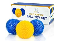 Set of 3 Squeaky Dog Balls - Rubber Stimulation Chew Toys for Boredom - Interactive Balls for Medium...