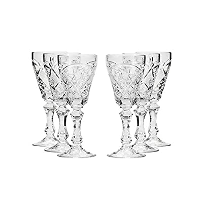 Set of 6 GIFTS PLAZA, 2-Oz Hand Made Vintage Russian Crystal Glasses, Liquo