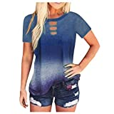 AMUSTER Damen Shirt Sommer Kurzarm Farbblock Tops Rundhals Frauen Casual Tie-Dye Print Shirt Kurzarm...
