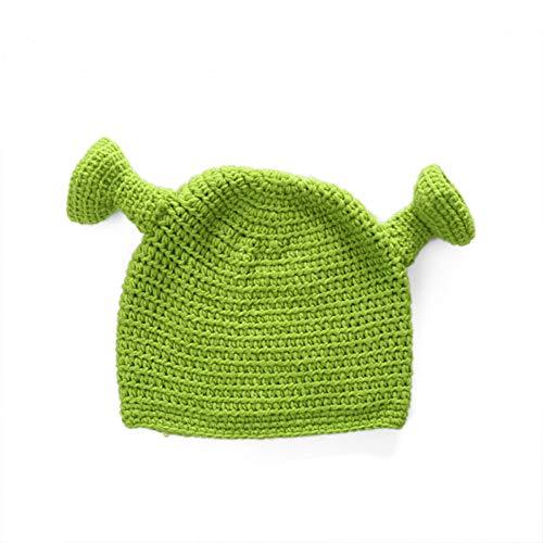 SAONIAN Sombrero de Invierno Unisex Pasamontañas Monster Shrek Sombrero Sombreros de Punto de Invierno Fiesta Verde Gorro Divertido para Mujeres Hombres Hecho a Mano Puro