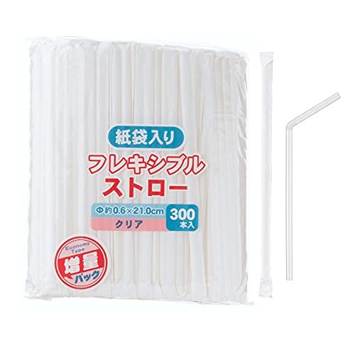 ストリックスデザイン 紙袋り 曲がるストロー クリア×1500本:300本×5袋