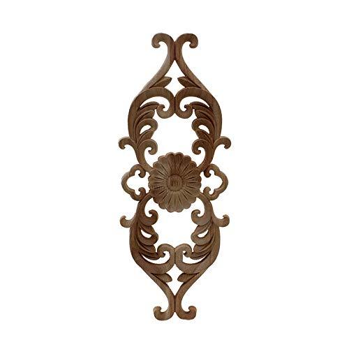 wkd-thvb Antiguo Apliques De Madera Decorativos Para Muebles Decoración Puerta Gabinete Irregular Molduras De Madera Flor Talla Estatuilla 48cmX18cm
