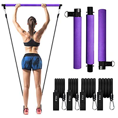 Pilates Exercise Stick Kit with 4 (2 Strong & 2 Standard) Resistance Bands?Portable Compact 3-Section Yoga Resistance Bands for Legs and Butt, Pilates Bar with Foot Strap for Full Body Workout