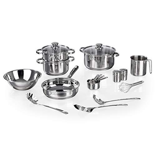 MAXXMEE 18-teiliges Koch- & Zubereitungsset | Inkl. 2-stufigem Dampfgarer | Topf und Pfanne mit Aluminium-Kapsel-Boden | Für alle Herdarten geeignet [Edelstahl ]