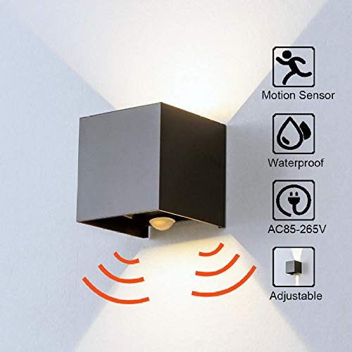 Radarlicht voor deur, hoek verstelbaar, buiten en binnen, LED, wandlamp, hal, tuin, wandlamp, Cube@Warm White3000K_12W (Radarsensor), romp zwart