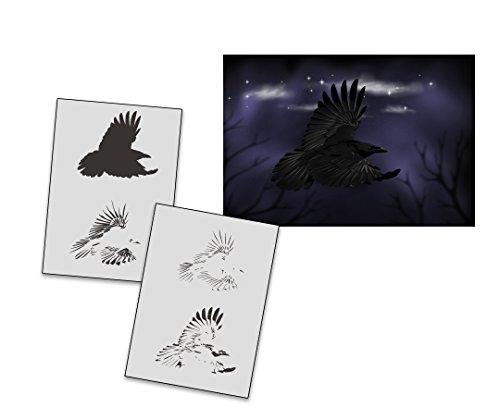 UMR-Design AS-291 Raven Airbrushschablone Step by Step Grösse M