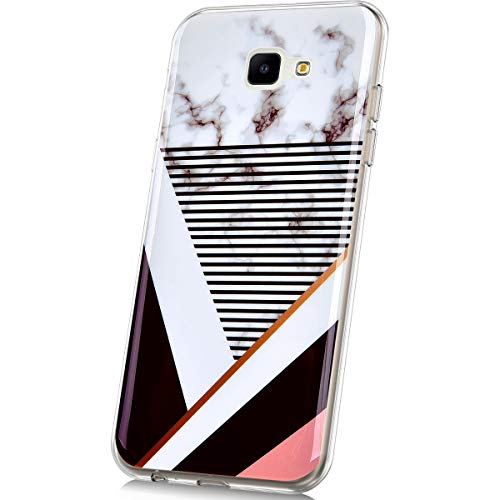 JAWSEU Kompatibel mit Samsung Galaxy J4 Core Hülle Silikon Marmor Muster Weich Silikon Handyhülle Stein Marble TPU Bumper Handytasche Kratzfest Handy Schutzhülle Etui für Galaxy J4 Core,Marmor #8