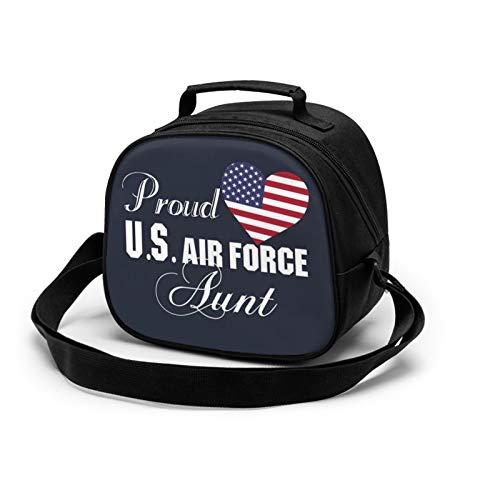 WORUIJIA Best Gift for Aunt - Proud U.S. Air Force Aunt Children'S Meal Bag Waterproof Reusable Food Storage Lunch Tote Bag Keep Warm Shockproof Ice Pack Insulated Picnic Bag For Boys Girls